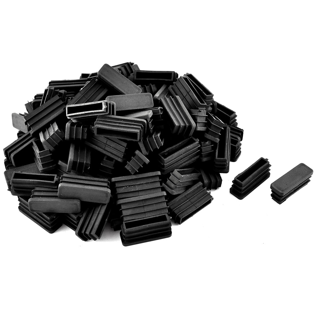 Home Office Plastic Rectangular Shaped Table Chair Leg Feet Tube Pipe Insert Black 100 Pcs