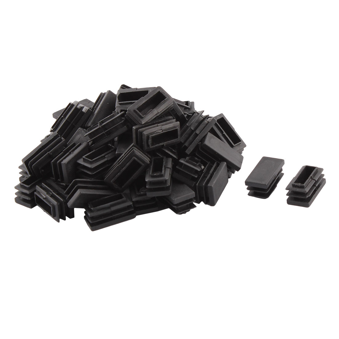 Household Plastic Rectangular Shaped Chair Leg Tube Pipe Insert Black 30 x 15mm 50 PCS