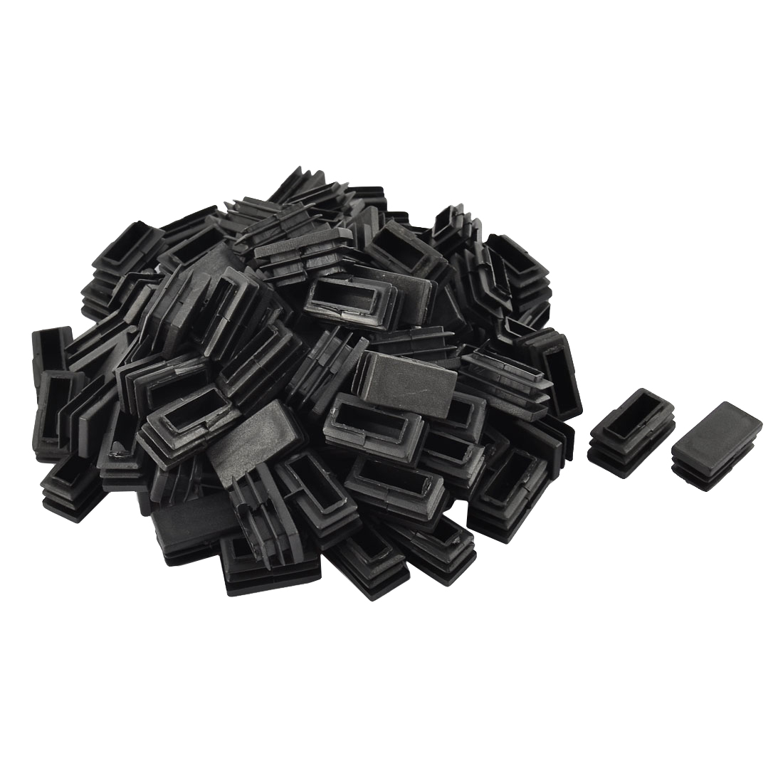 Home Office Plastic Rectangular Shaped Chair Leg Feet Tube Insert Black 102 Pcs