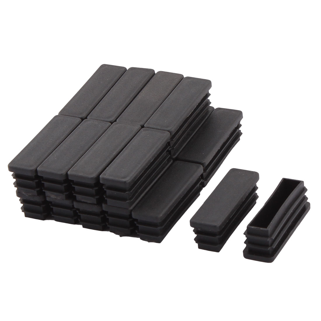Household Plastic Rectangular Shaped Table Sofa Leg Feet Tube Pipe Insert Black 50 x 15mm 20 PCS
