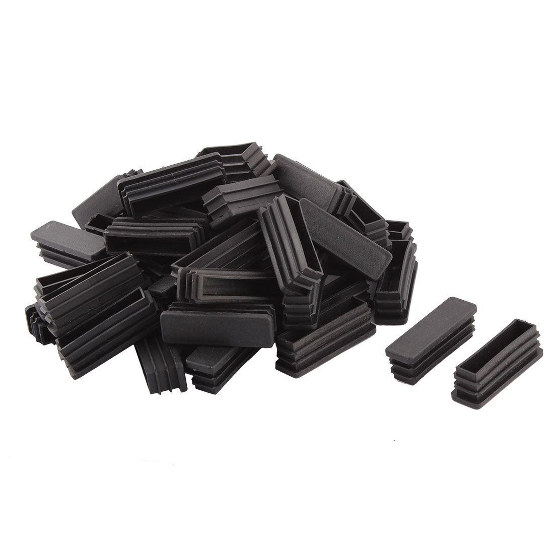Household Plastic Rectangular Shaped Table Sofa Leg Feet Tube Pipe Insert Black 15 x 50mm 50 PCS