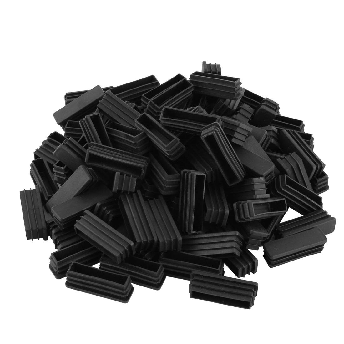 Office Plastic Rectangular Shaped Furniture Table Chair Leg Foot Tube Insert Black 100 Pcs