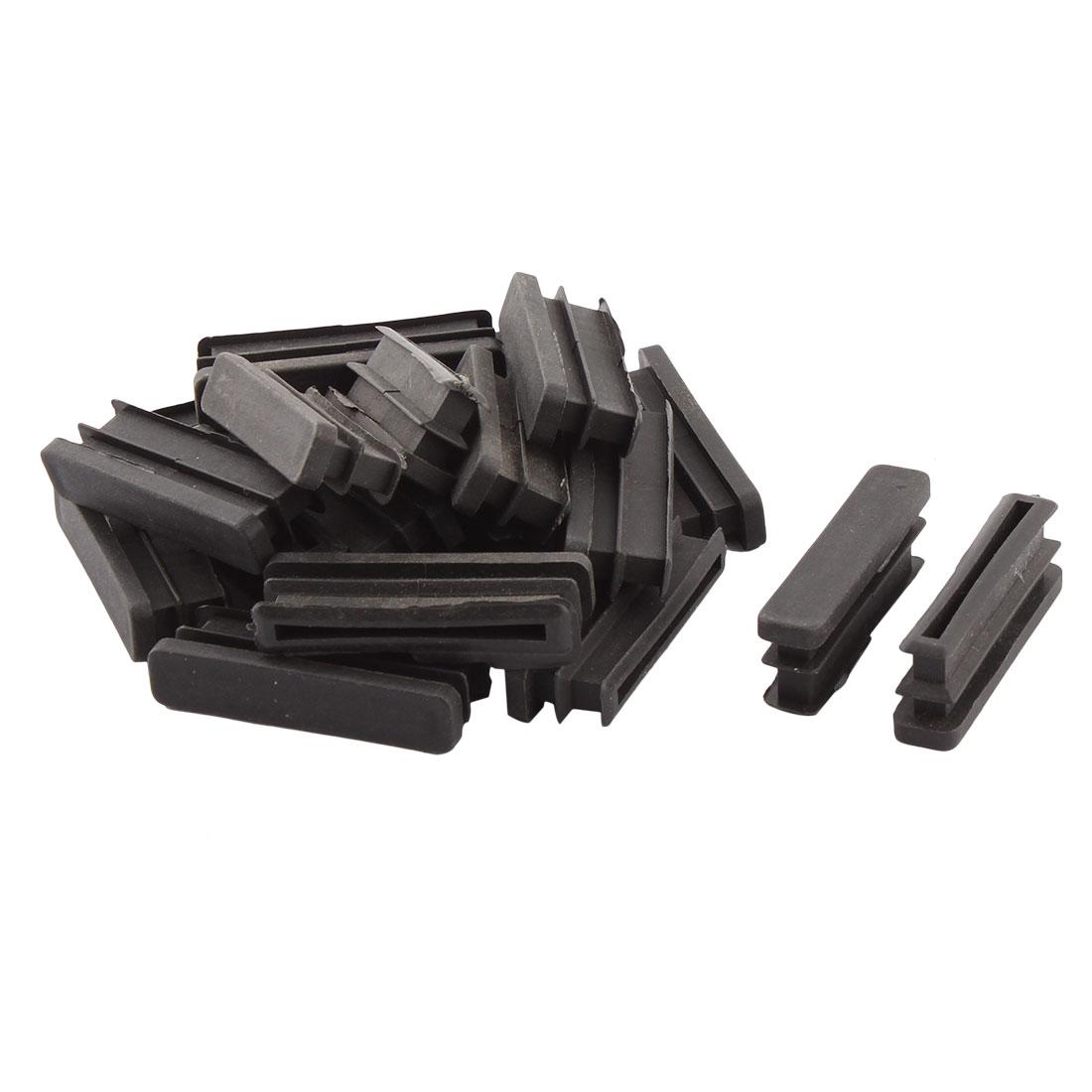 Household Plastic Rectangular Shaped Table Chair Leg Feet Tube Pipe Insert Black 50 x 10mm 20 PCS