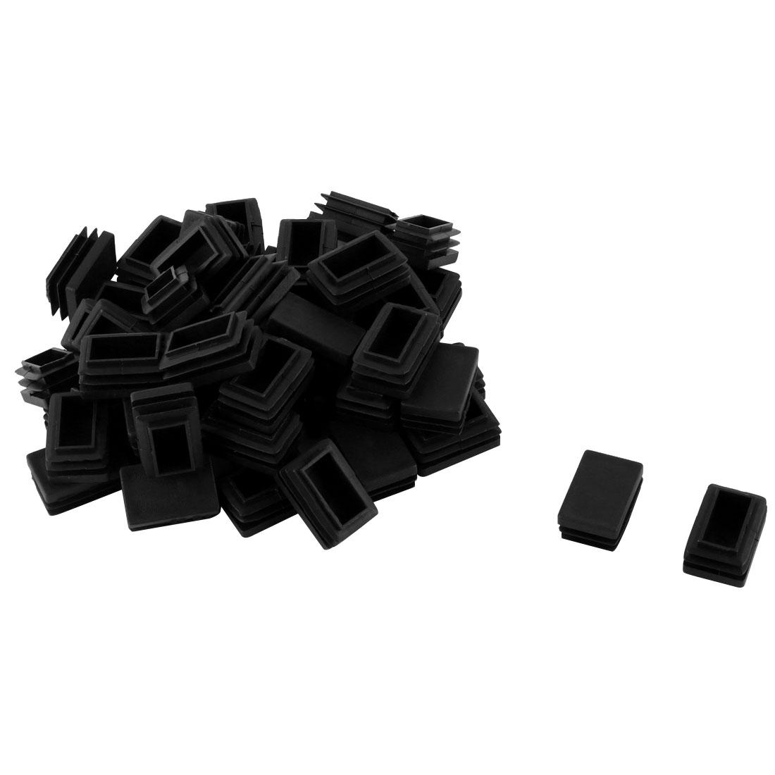Household Plastic Rectangular Shaped Table Chair Leg Feet Tube Cap Insert Black 3 x 2cm 50 PCS