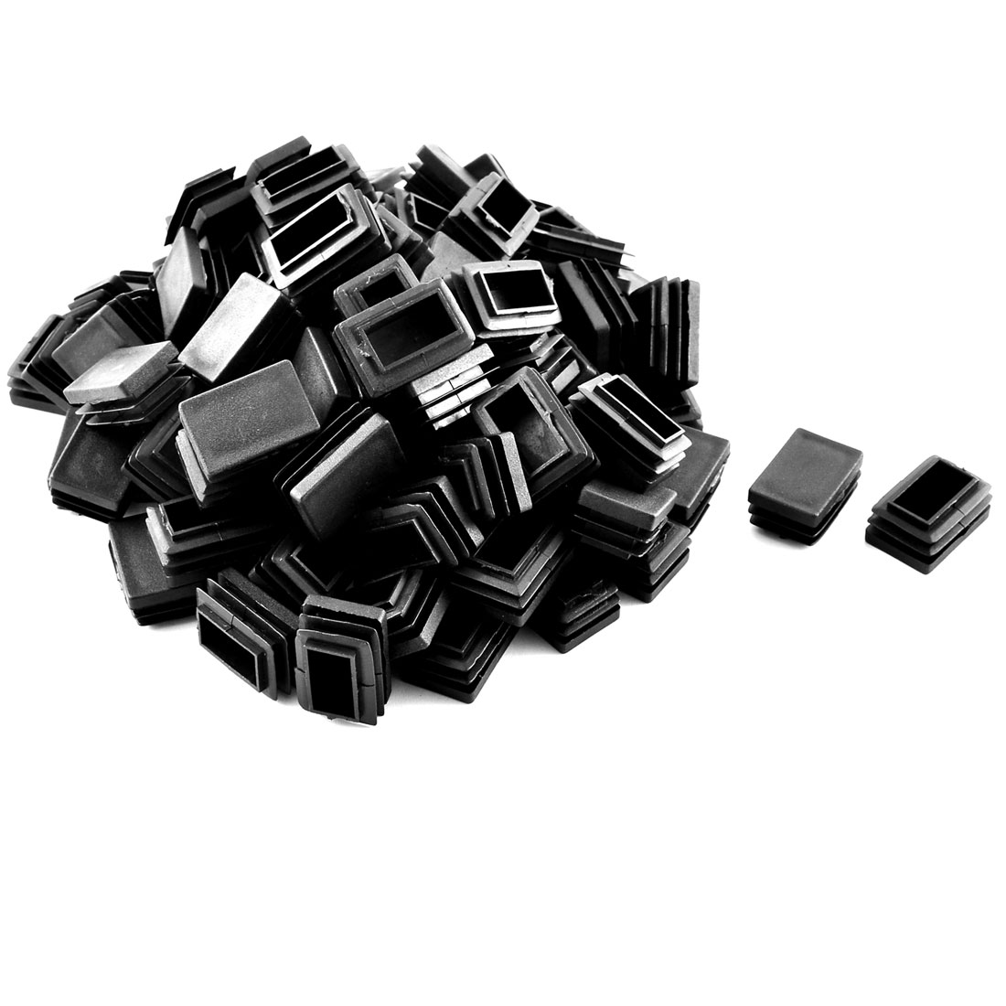 Home Plastic Rectangular Shaped Table Chair Leg Feet Tube Pipe Insert Black 100 Pcs