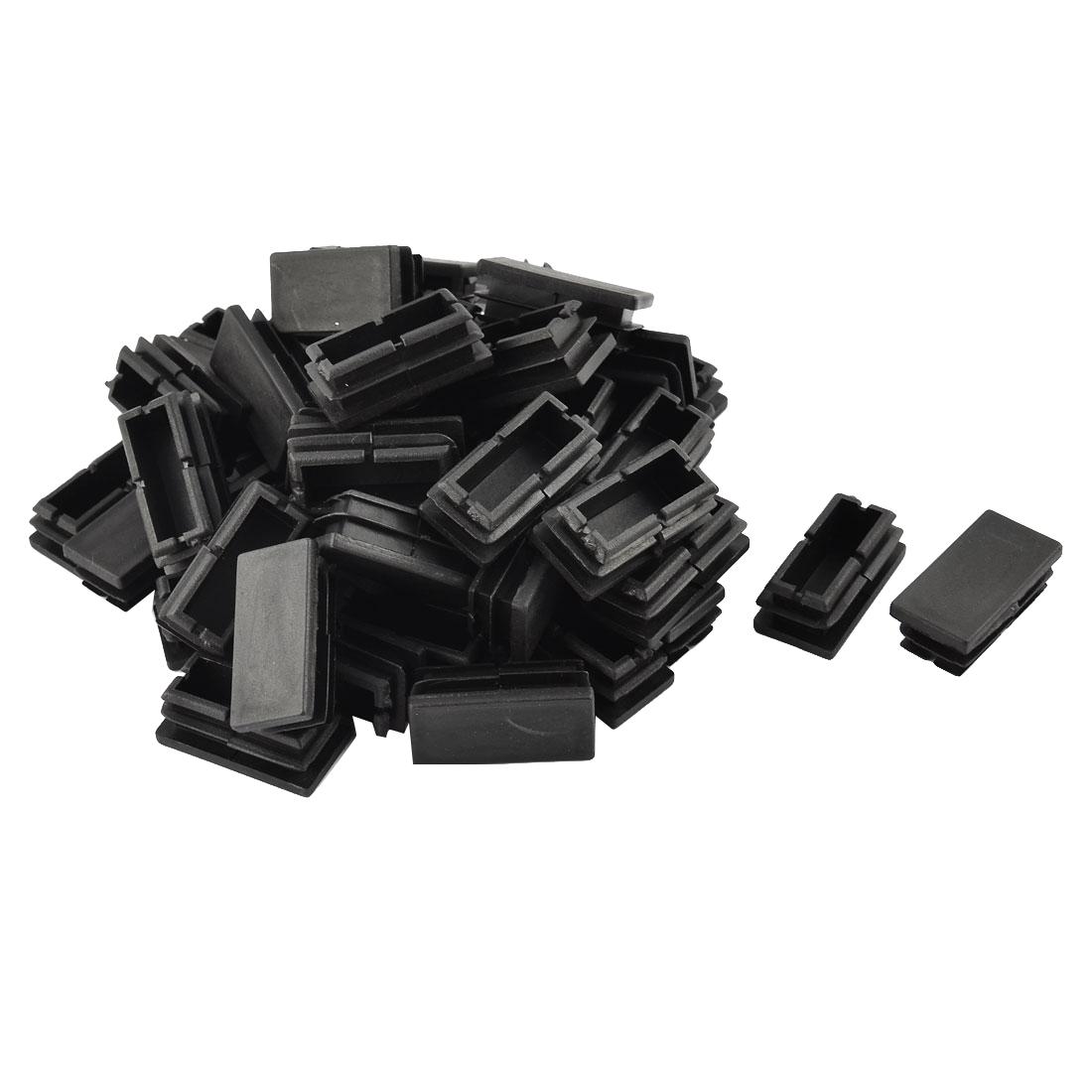 Home Cffice Plastic Rectangular Shaped Table Chair Leg Feet Tube Insert Black 50 Pcs