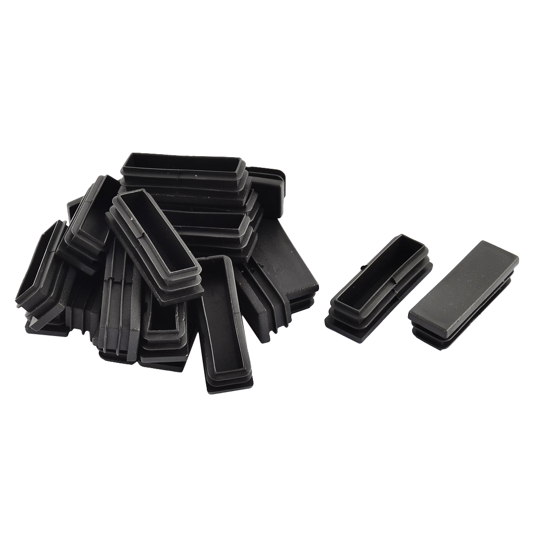 Floor No Dent Protective Rectangle Chair Leg Pipe Tube Insert Black 59 x 19mm 20pcs
