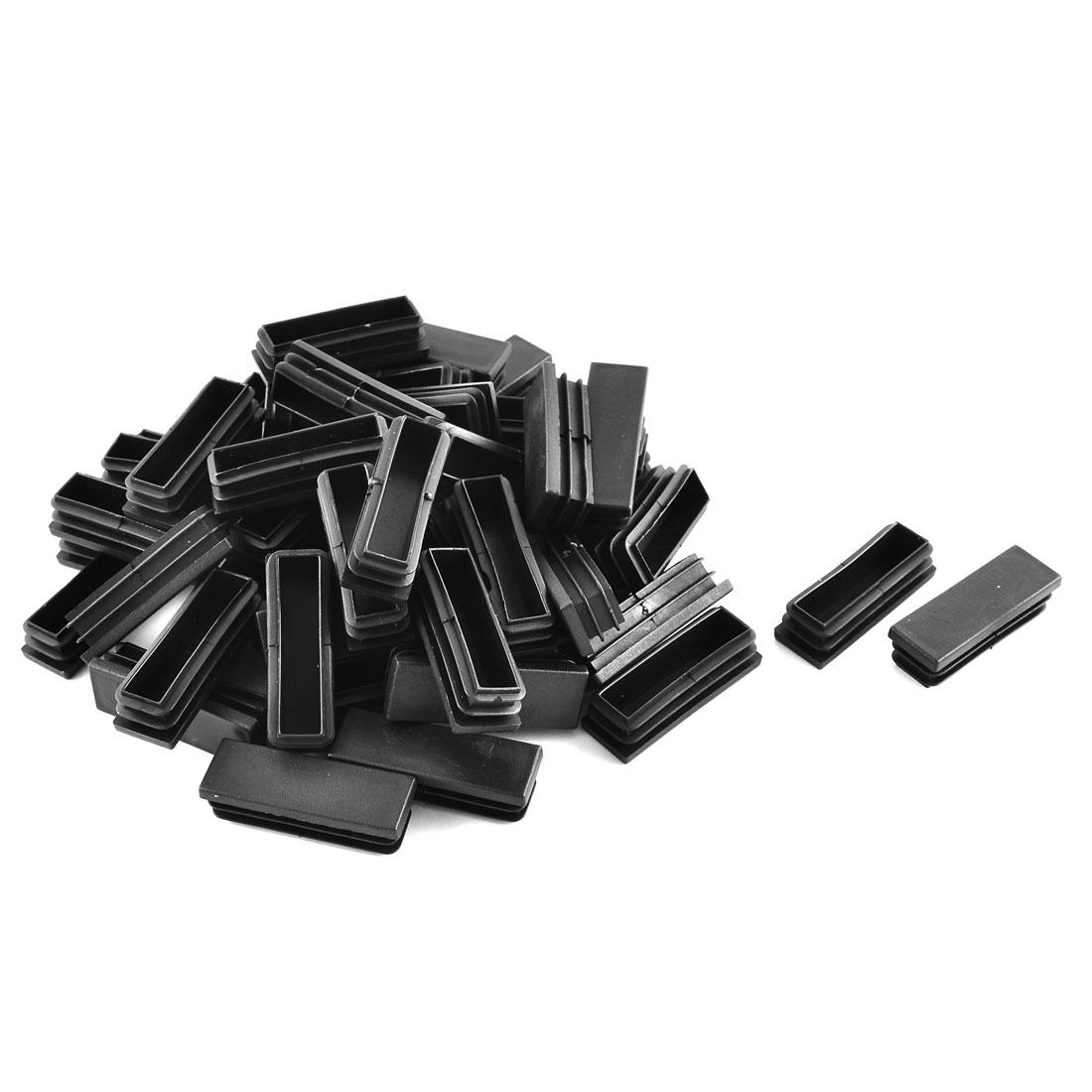 Plastic Rectangle Tube Inserts End Blanking Cap Black 20mm x 60mm 50 Pcs