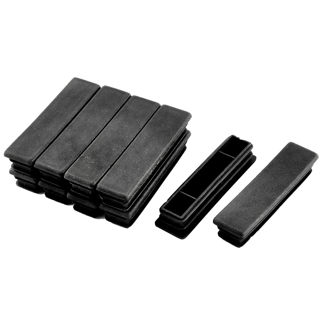 Home Plastic Rectangle Tube Inserts End Blanking Cap Black 20mm x 80mm 10 Pcs