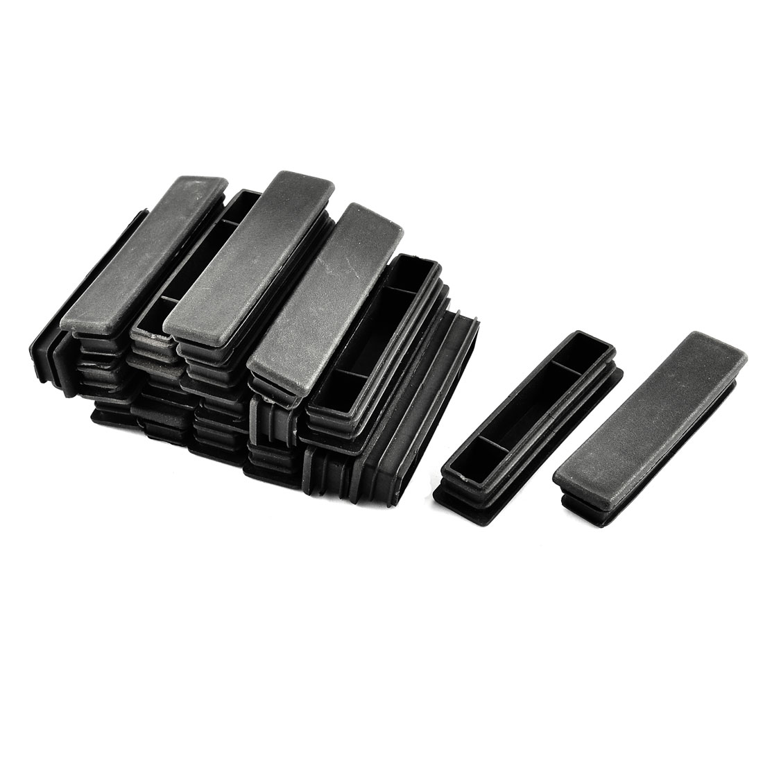 Home Plastic Rectangle Tube Inserts End Blanking Cap Black 20mm x 80mm 20 Pcs