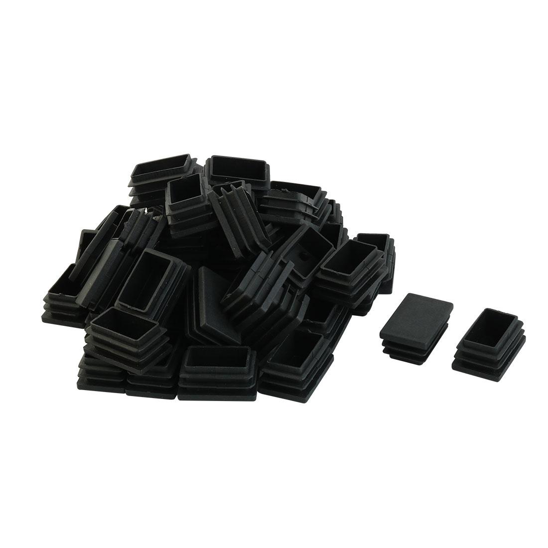 Plastic Rectangular Shaped Furniture Table Leg Feet Tube Insert Black 50 Pcs