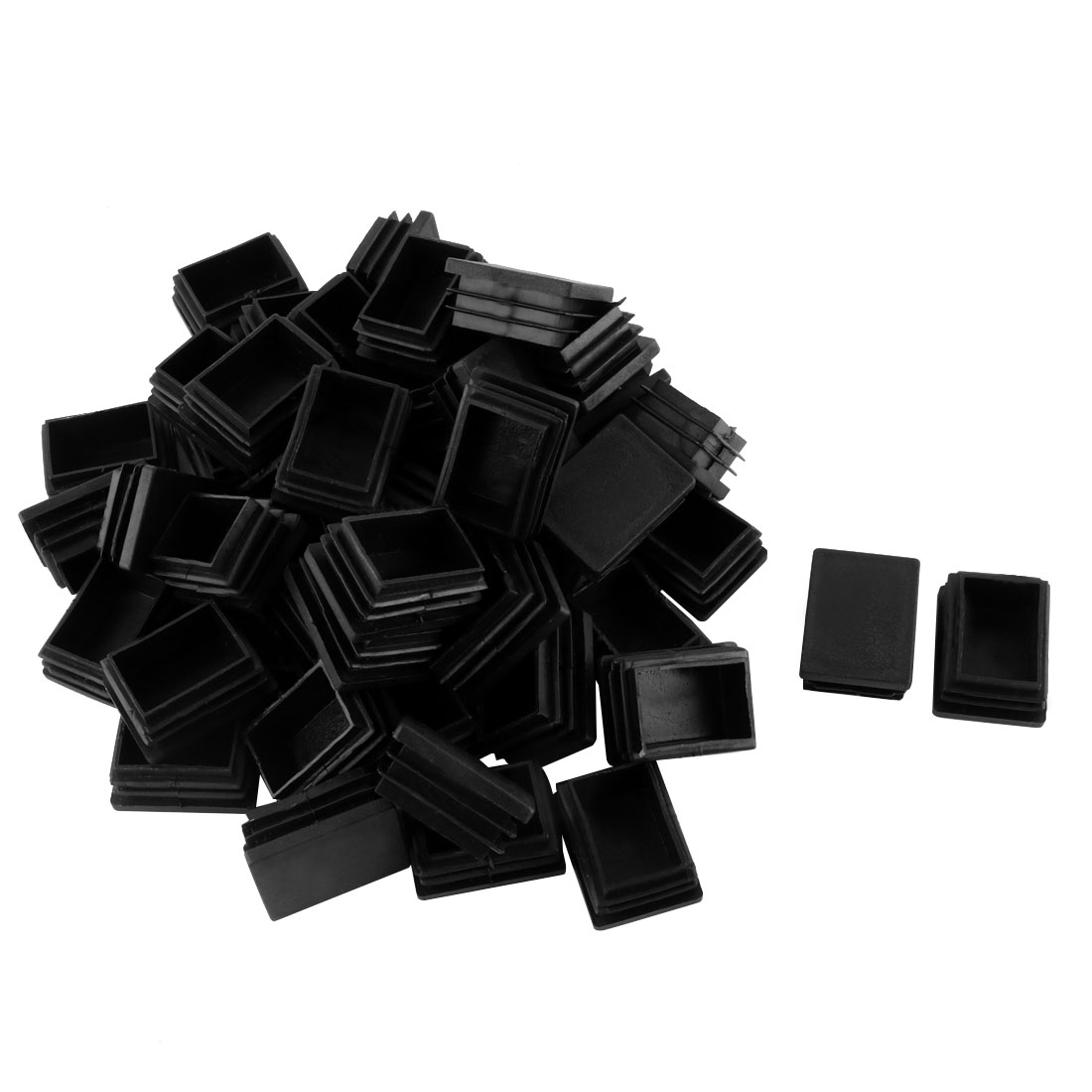 Plastic Rectangle Tube Pipe Inserts End Blanking Cap Black 30mm x 40mm 50 Pcs