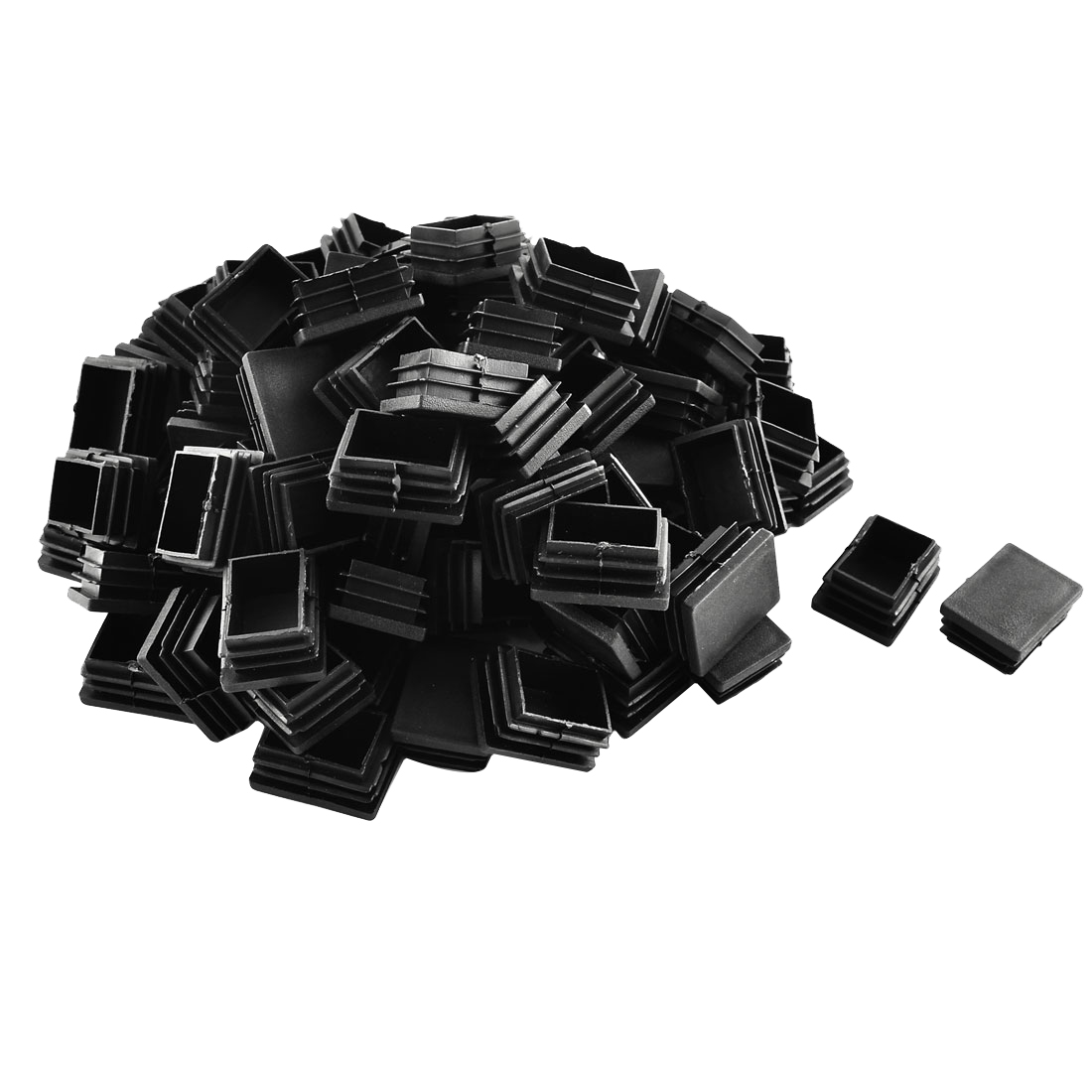 Plastic Rectangle Tube Pipe Inserts End Blanking Cap Black 30mm x 40mm 100pcs