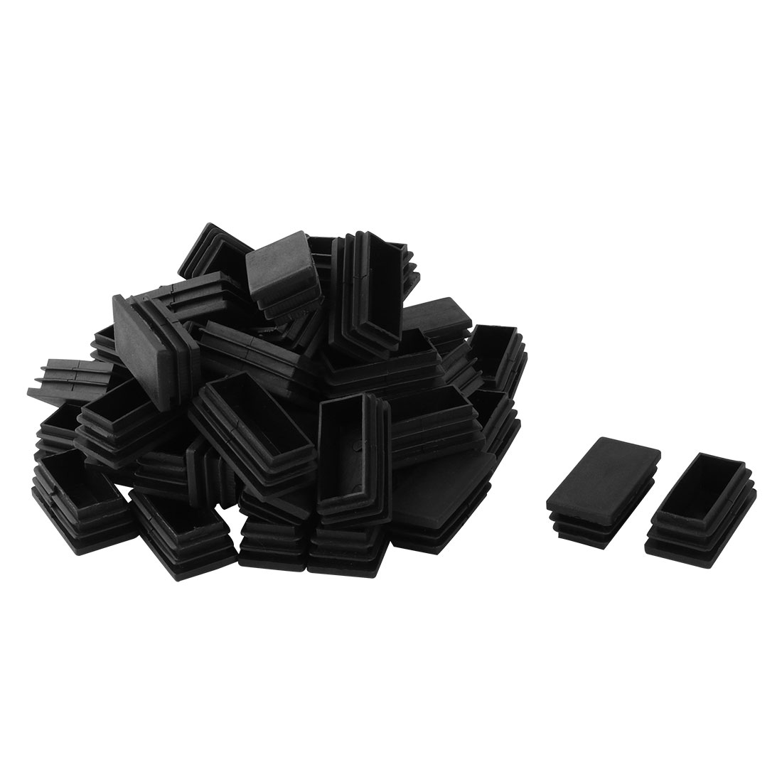 Home Plastic Rectangle Tube Inserts End Blanking Cap Black 25mm x 50mm 50 Pcs
