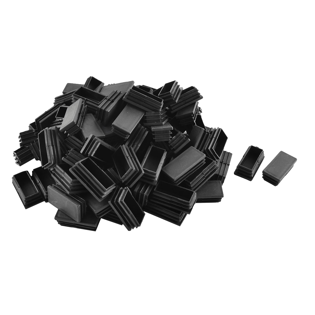 Plastic Rectangle Blanking End Cap Tubing Tube Inserts Black 25mm x 50mm 100 Pcs