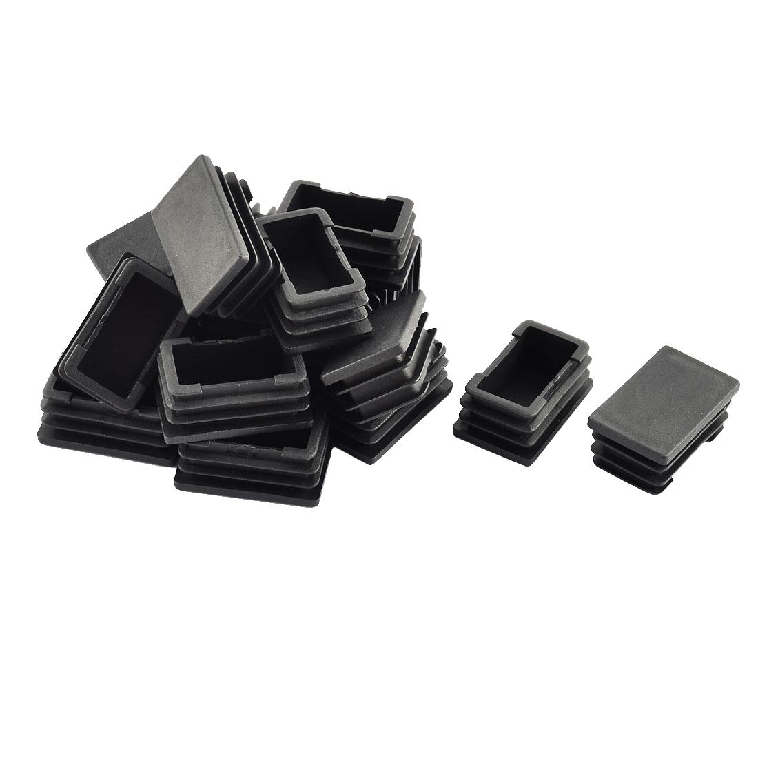 Home Floor Protect Table Chair Leg Tube Insert Blanking Black 39 x 23mm 20pcs