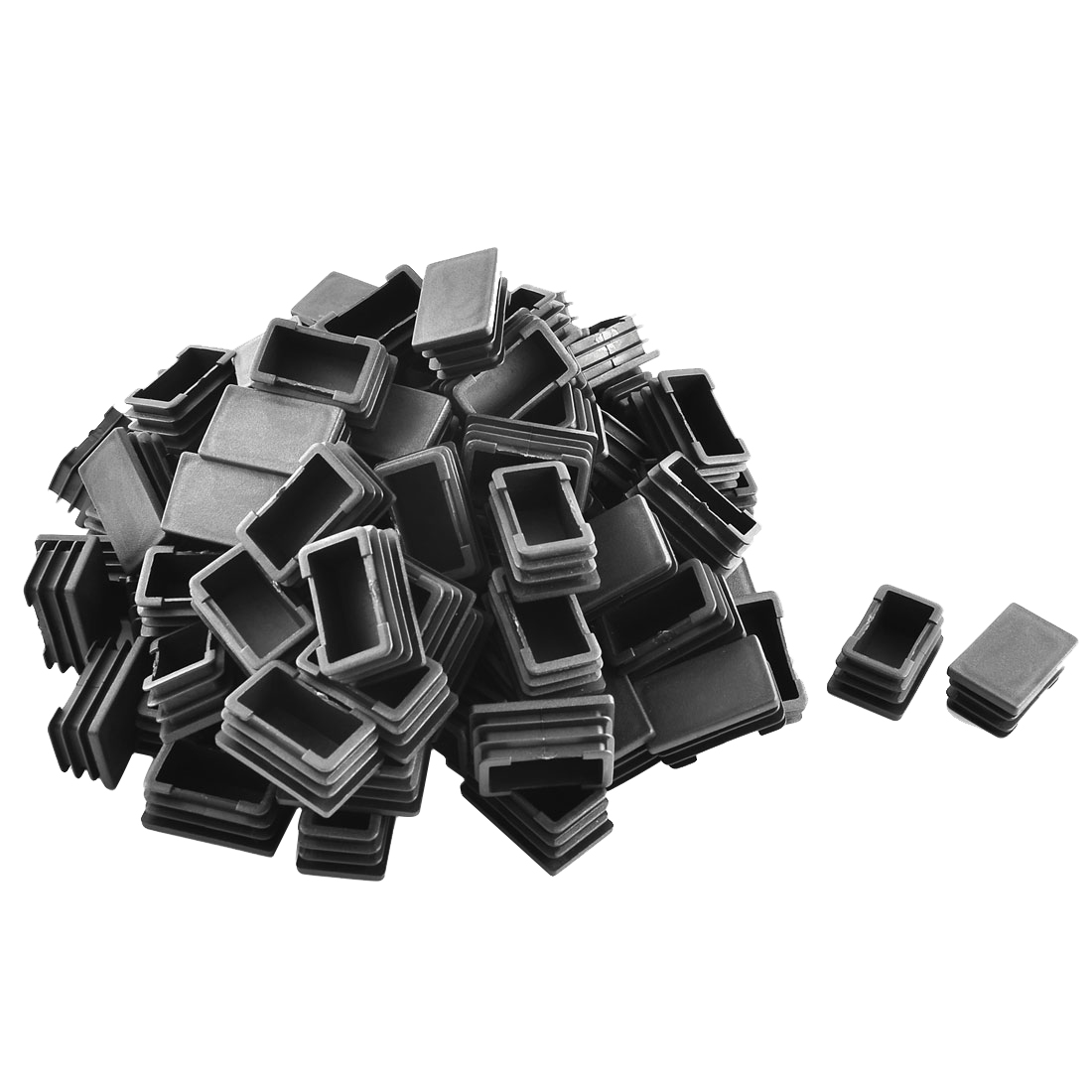 Home Plastic Rectangle Tube Inserts End Blanking Cap Black 25mm x 40mm 100 Pcs