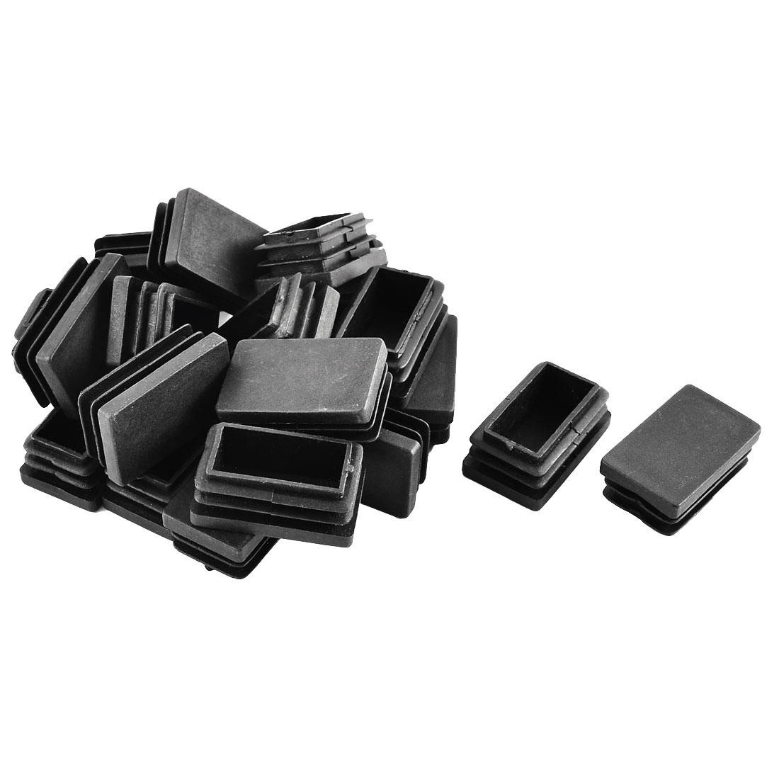 Office Plastic Rectangle Tube Inserts End Blanking Cap Black 30mm x 50mm 20 Pcs