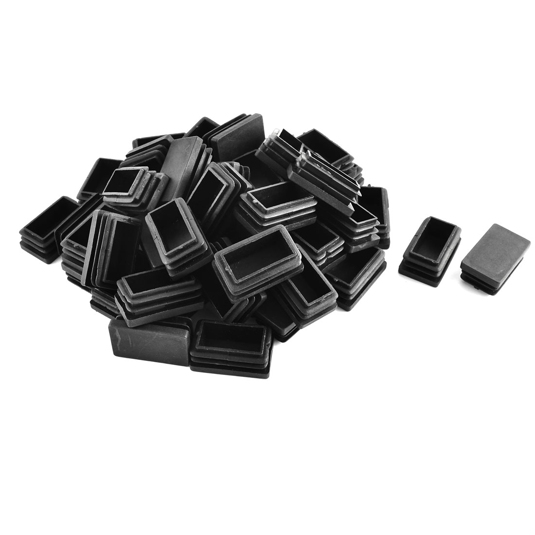 Office Plastic Rectangle Tube Inserts End Blanking Cap Black 30mm x 50mm 50 Pcs