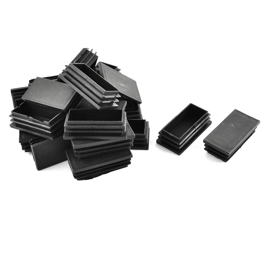 Plastic Rectangle Tube Pipe Inserts End Blanking Cap Black 30mm x 60mm 20 Pcs