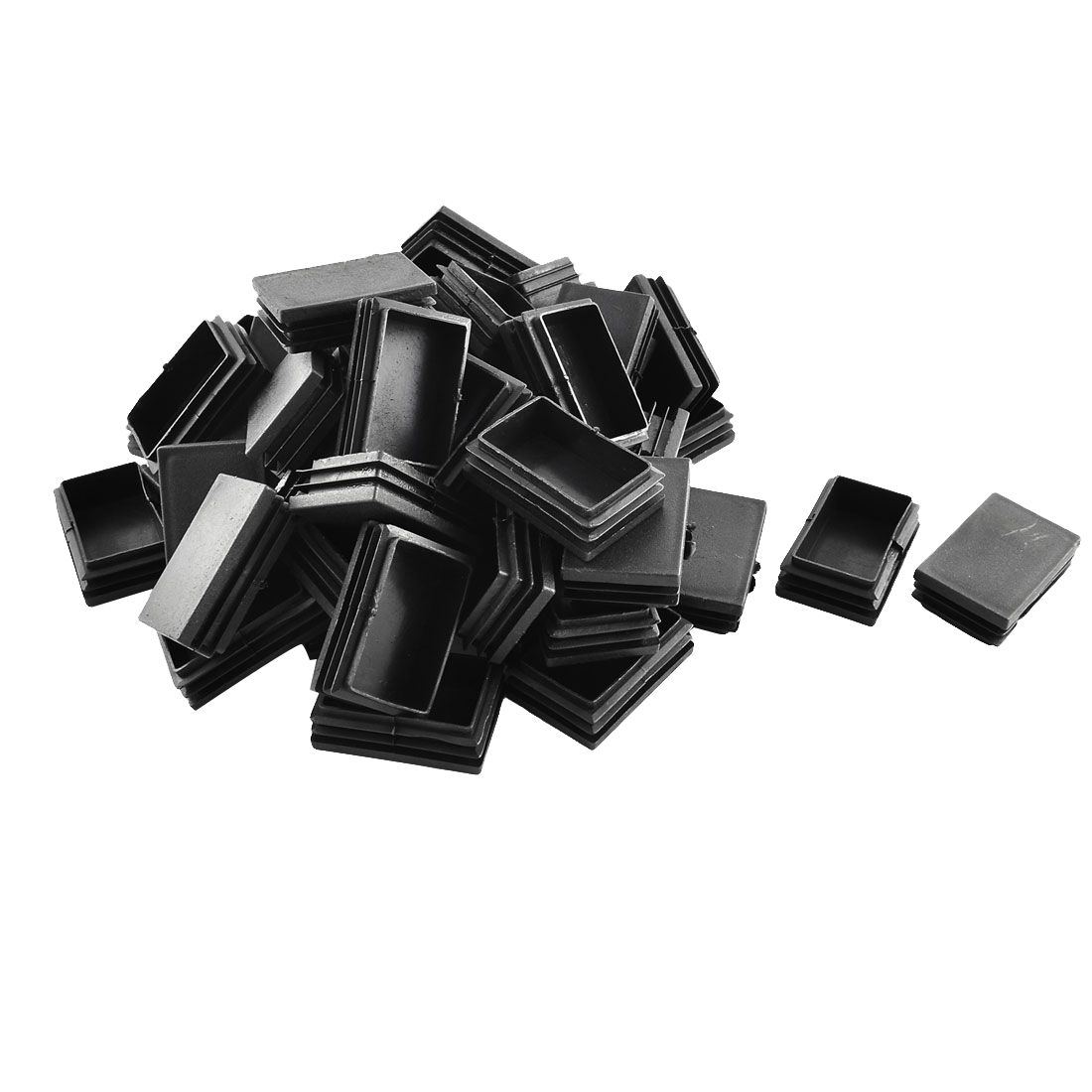 Plastic Rectangle Tube Inserts End Blanking Cap Black 40mm x 60mm 50 Pcs