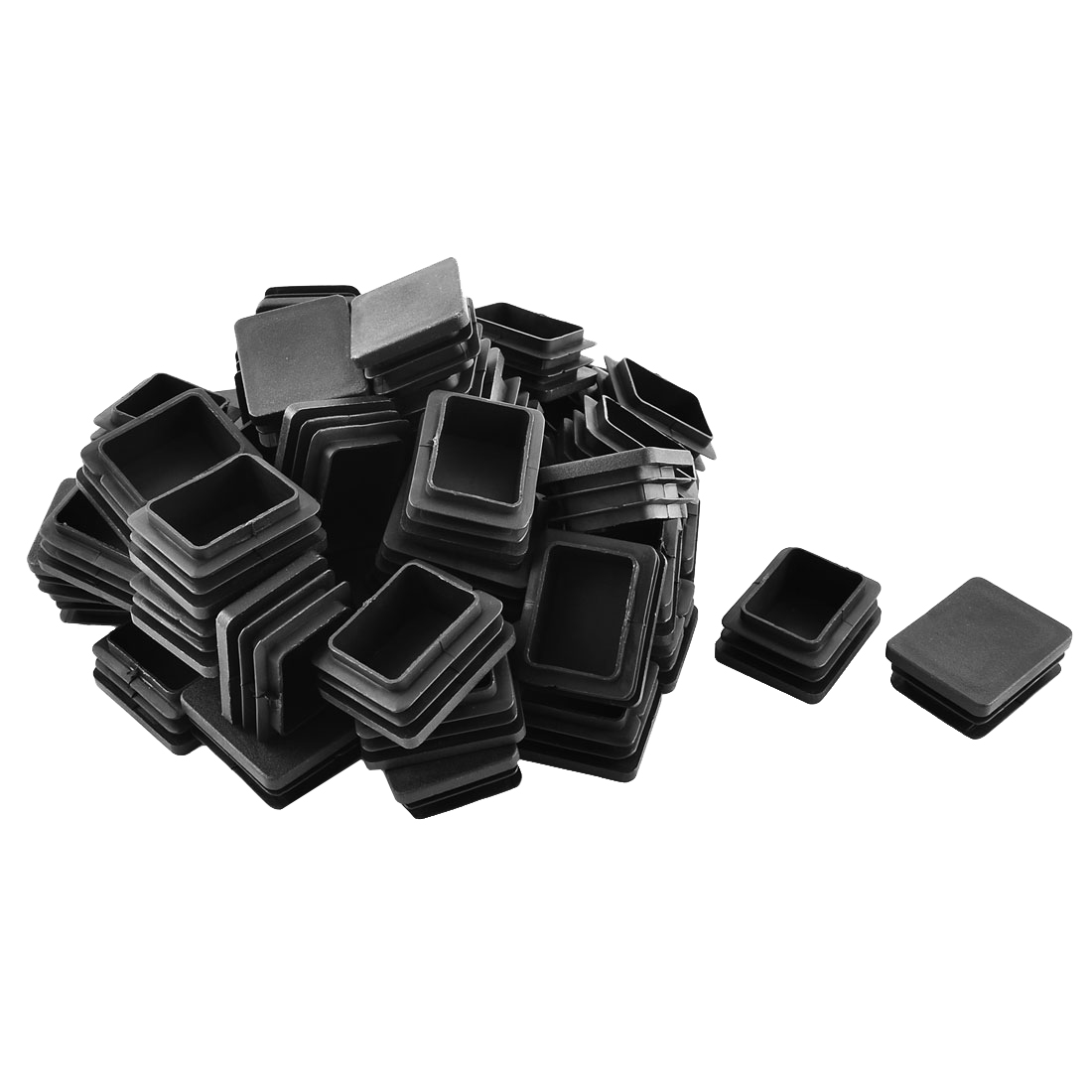 Plastic Rectangle Tube Pipe Inserts End Blanking Cap Black 40mm x 50mm 50 Pcs