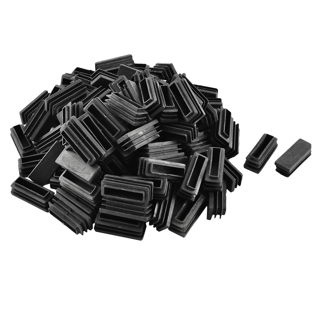 Plastic Rectangle Tube Pipe Inserts End Blanking Cap Black 15mm x 40mm 100pcs