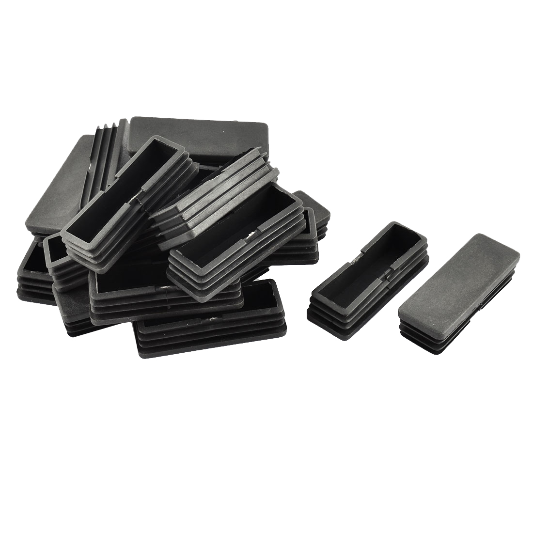 Home Office Floor No Scratch Plastic Chair Leg Tube Insert Black 68 x 23mm 20pcs