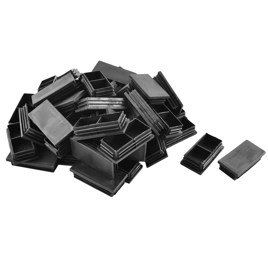 Plastic Rectangle Tube Pipe Inserts End Blanking Cap Black 40mm x 80mm 50 Pcs