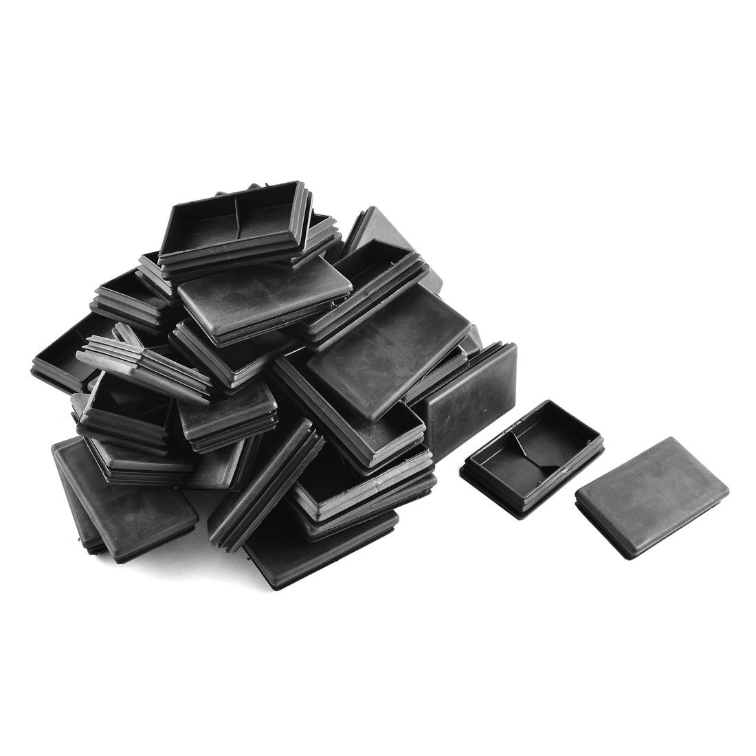 Plastic Rectangle Tube Inserts End Blanking Cap Black 45mm x 75mm 50 Pcs