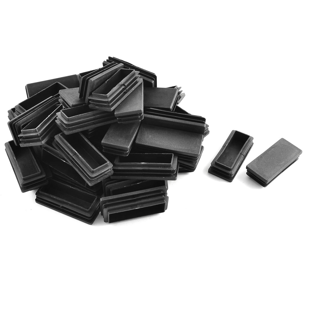 Plastic Rectangle Tube Inserts End Blanking Cap Black 30mm x 70mm 50 Pcs