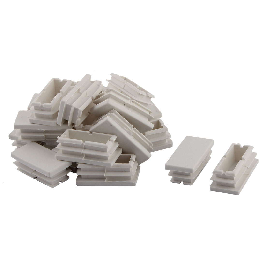 Household Plastic Rectangular Shaped Chair Leg Tube Pipe Insert White 40 x 20mm 20 PCS
