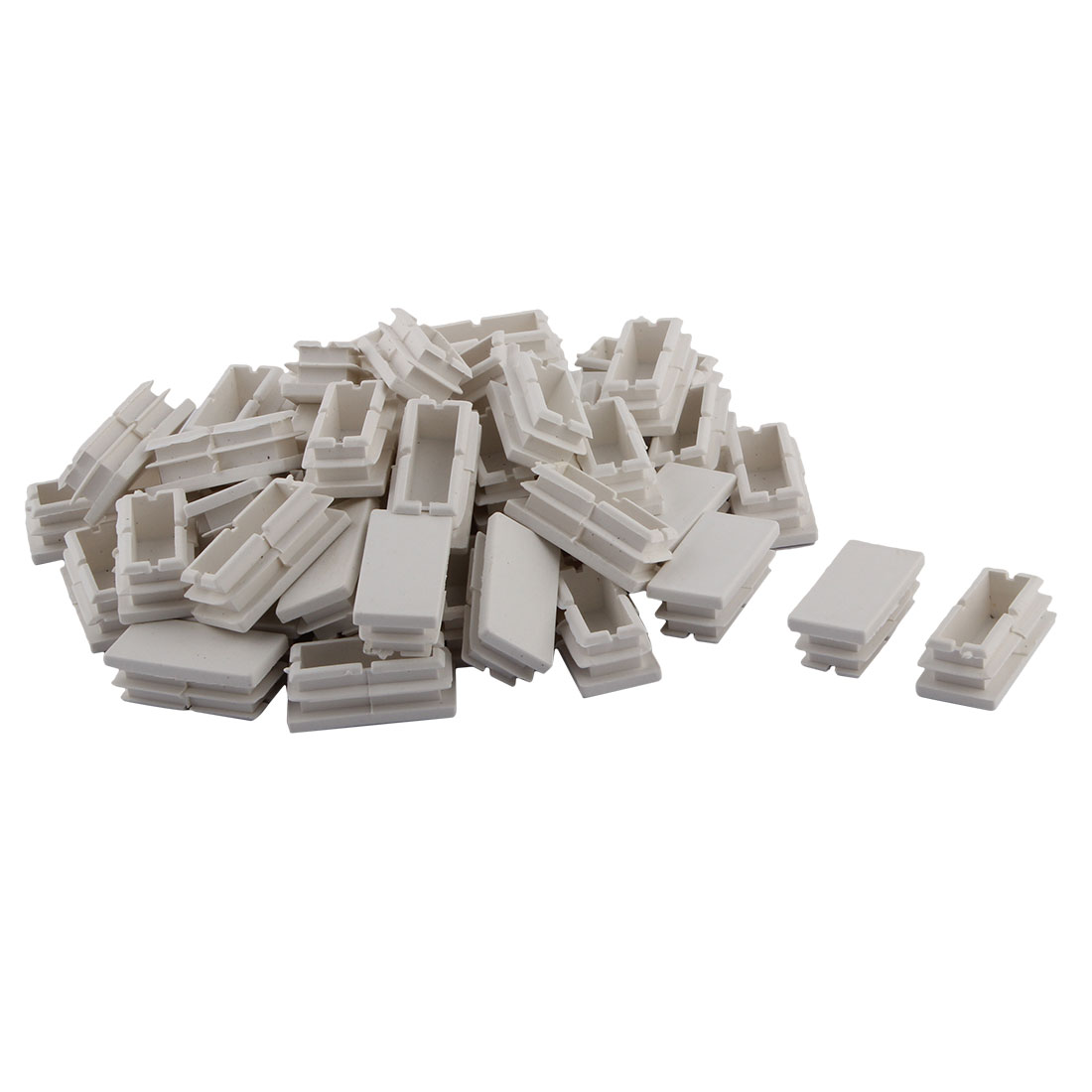 Household Plastic Rectangular Shaped Chair Leg Tube Pipe Insert White 40 x 20mm 50 PCS
