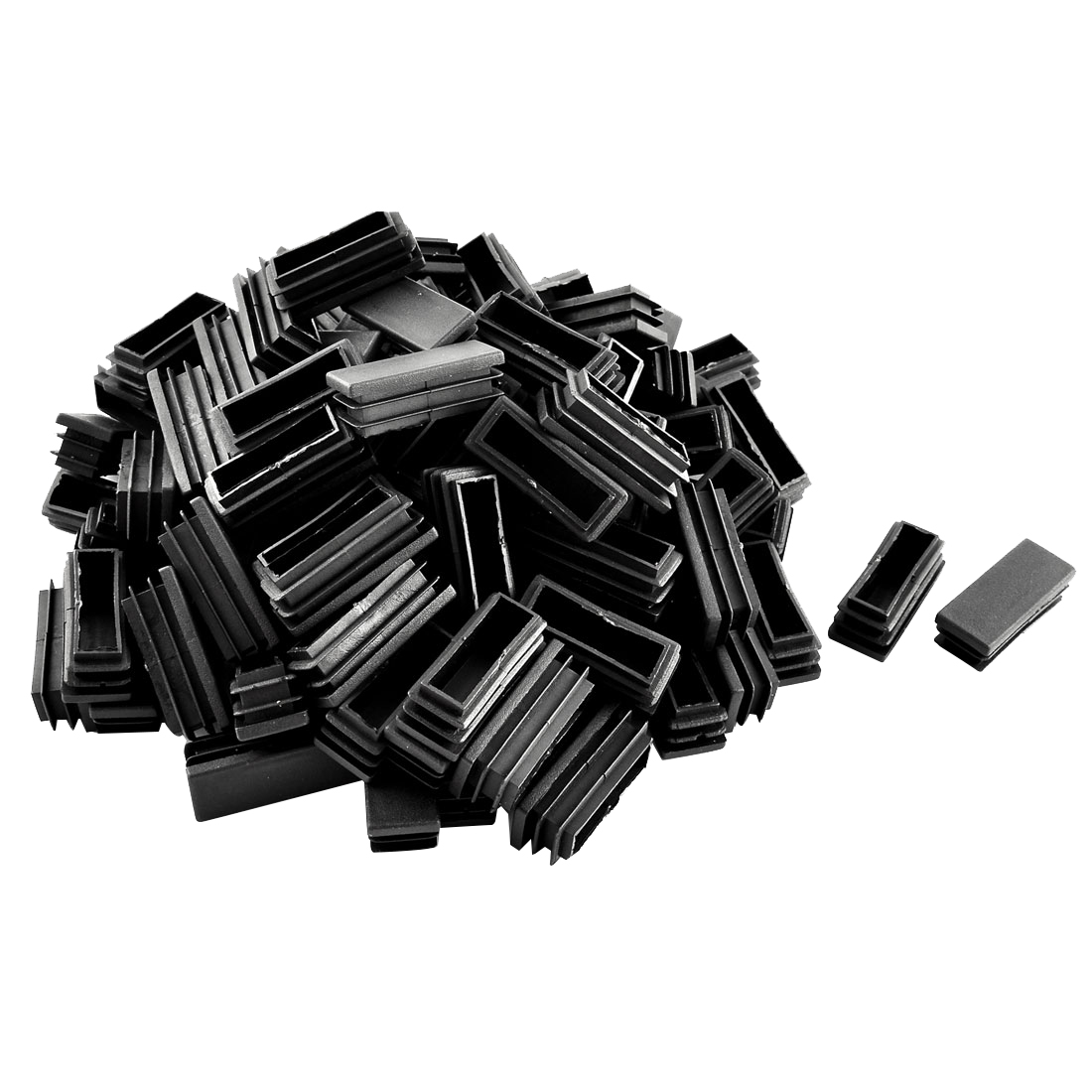 Plastic Rectangle Tube Inserts End Blanking Cap Black 20mm x 50mm 100 Pcs