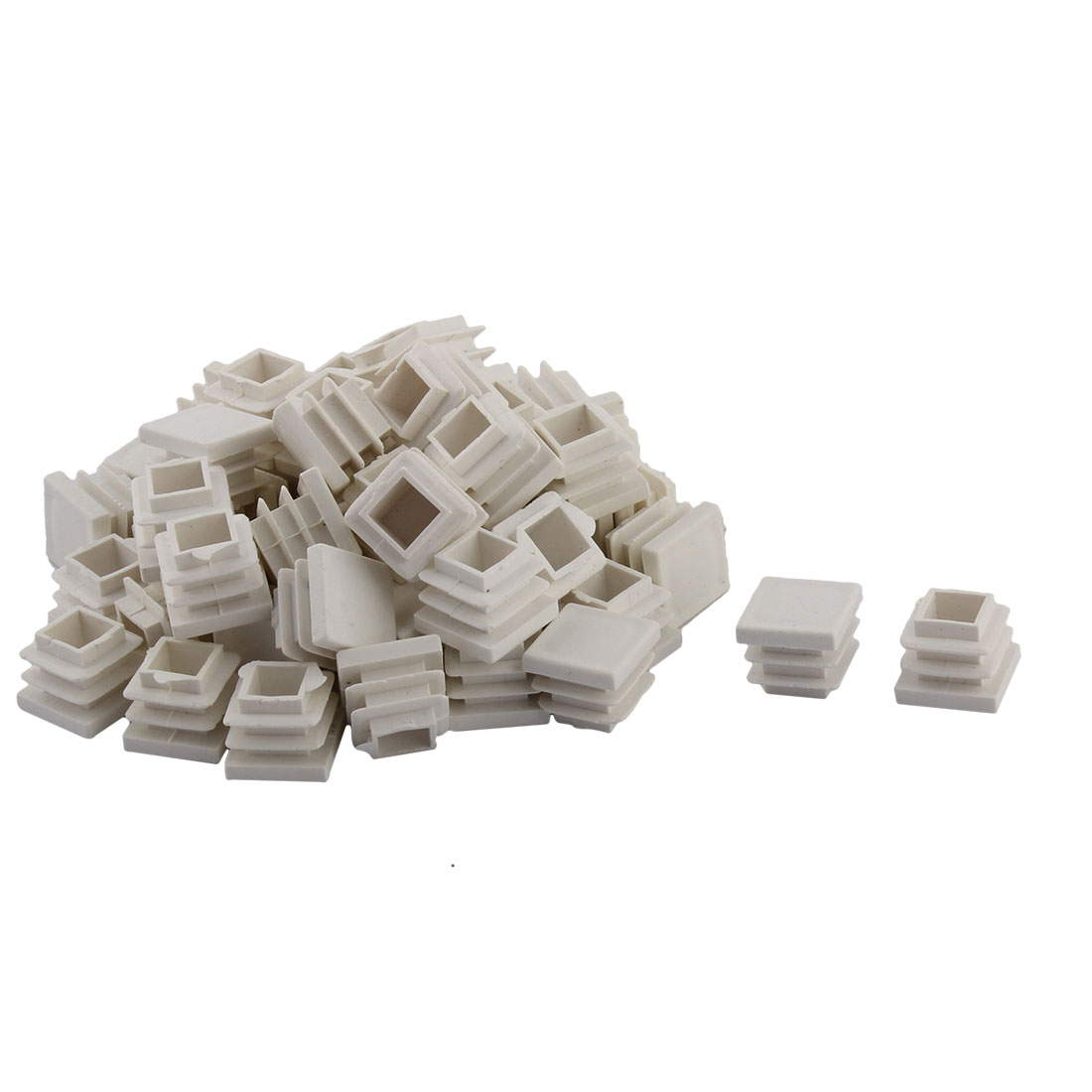 Household Plastic Square Shaped Table Chair Leg Tube Insert White 16 x 16mm 50 PCS