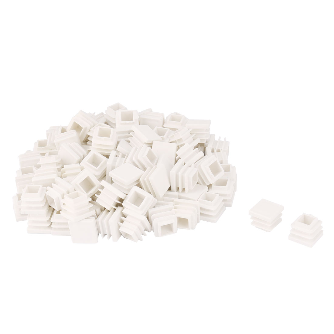 Plastic Square Design Tube Insert End Blanking Cover Cap White 16 x 16mm 100pcs