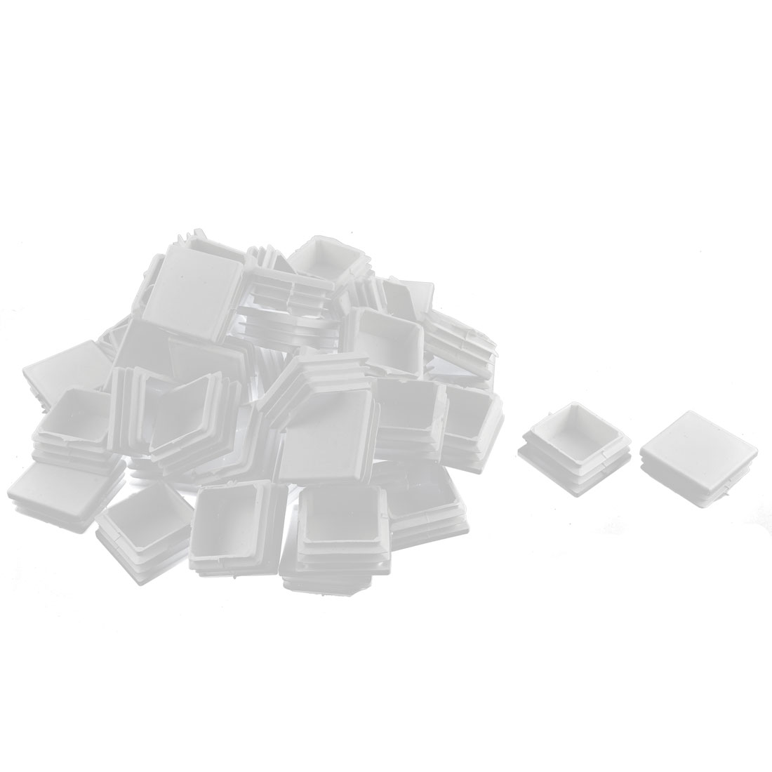 Home Plastic Square Tube Pipe Inserts End Blanking Caps White 38mmx38mm 50 Pcs