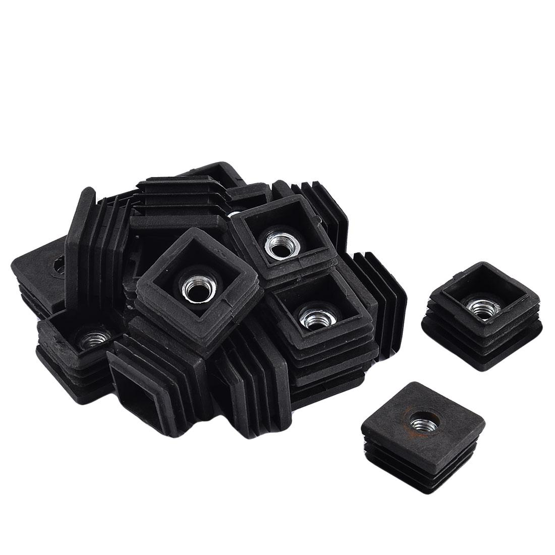 Home Office Plastic Square Shaped Furniture Table Foot Tube Nut Insert Black 20 Pcs