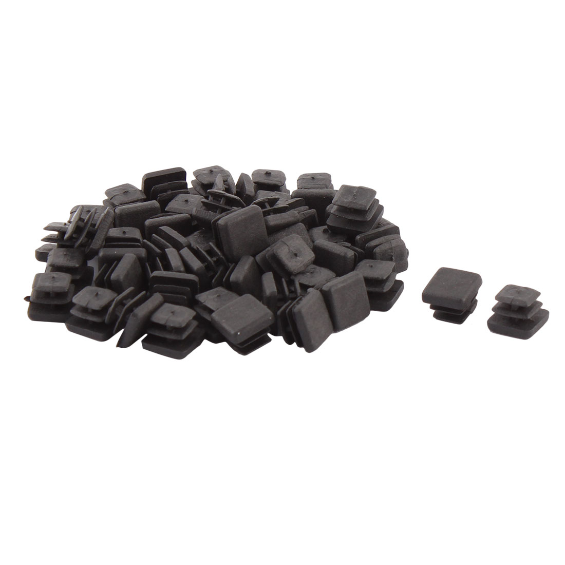 Household Plastic Square Shaped Table Seal Closure Tube Insert Black 10 x 10mm 50 PCS