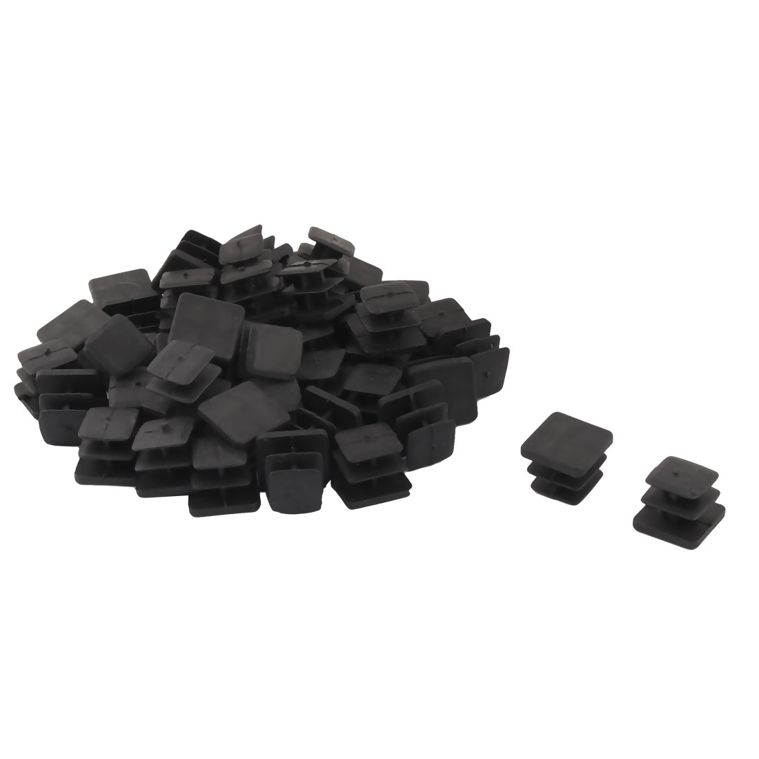 Plastic Square Design Tube Insert End Blanking Cover Cap Black 13 x 13mm 50pcs