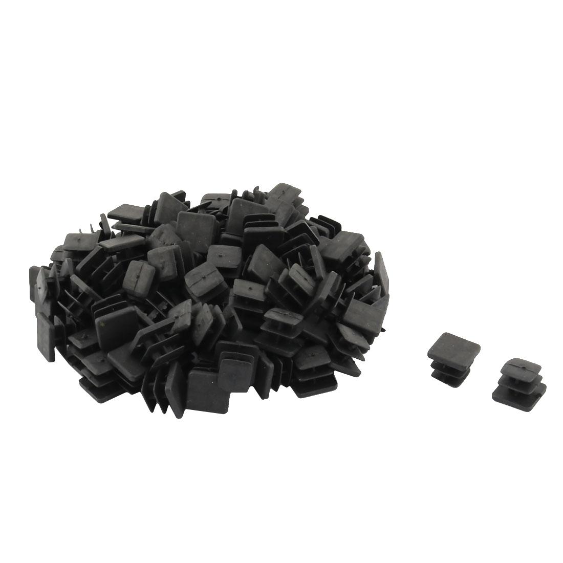 Plastic Square Design Tube Insert End Blanking Cover Cap Black 13 x 13mm 100pcs