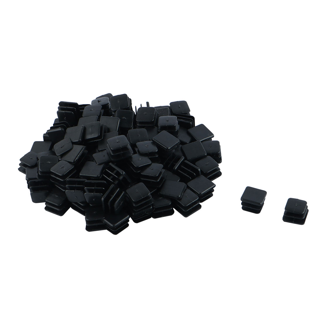 Table Chair Leg Plastic Square Tube Pipe Feet Insert Cap Black 15mm x 15mm 100 Pcs