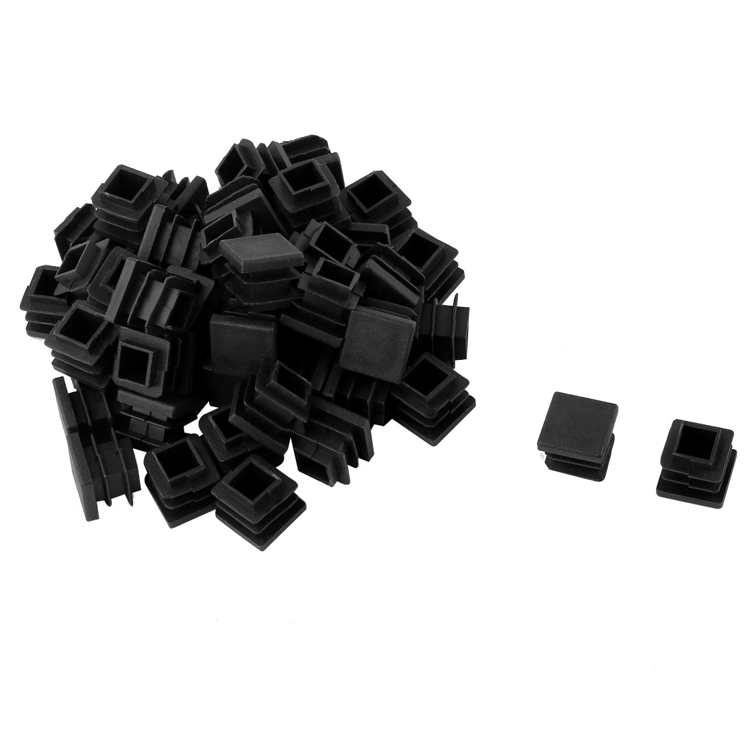 Plastic Square Design Tube Insert End Blanking Cover Cap Black 16 x 16mm 50pcs