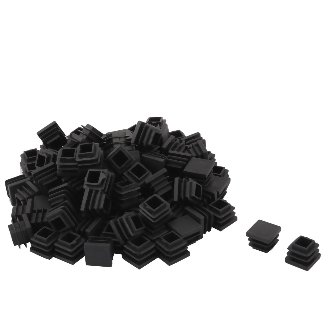 Plastic Square Design Tube Insert End Blanking Cover Cap Black 16 x 16mm 100pcs