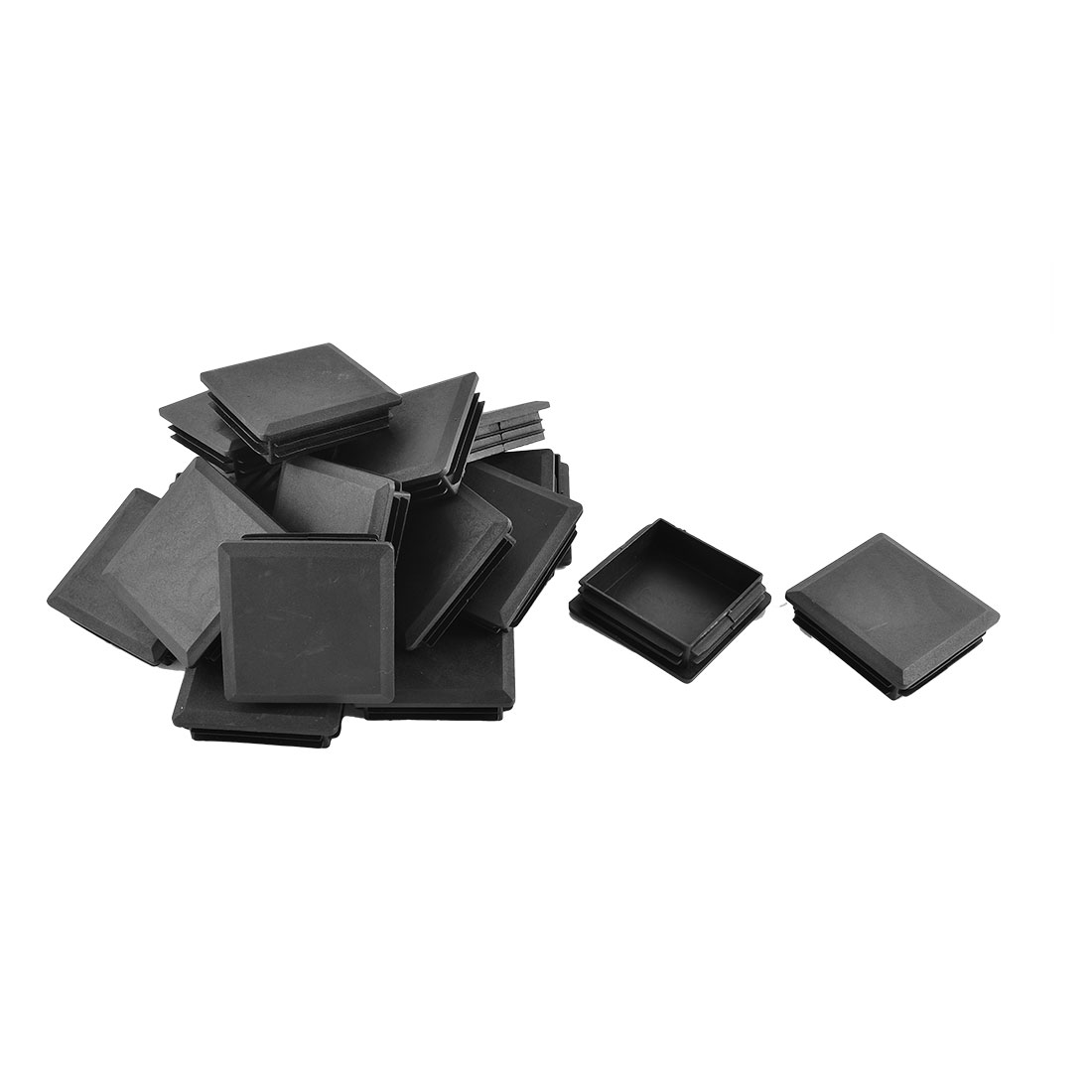Office Plastic Square Shaped Furniture Chair Foot Tube Insert Cap Black 20 Pcs