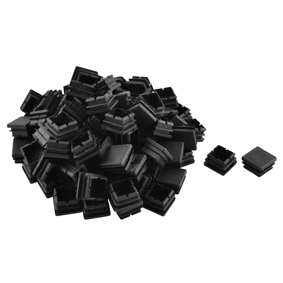 Home Plastic Square Shaped Furniture Table Chair Leg Foot Tube Insert Black 100 Pcs