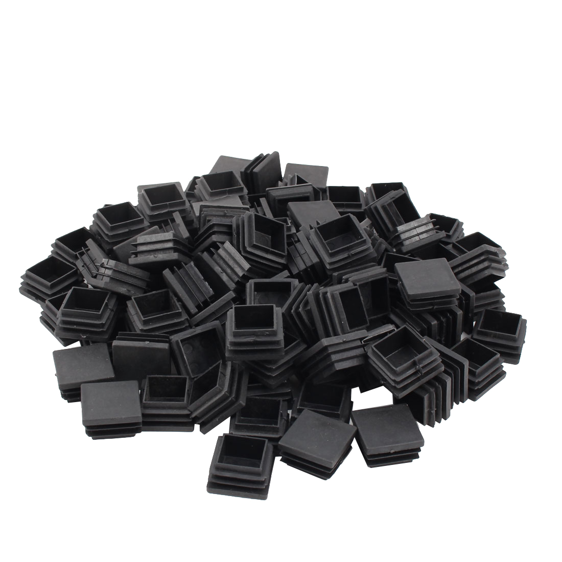Furniture Table Chair Plastic Square Leg Tube Pipe Insert End Cap Black 32mm x 32mm 100pcs