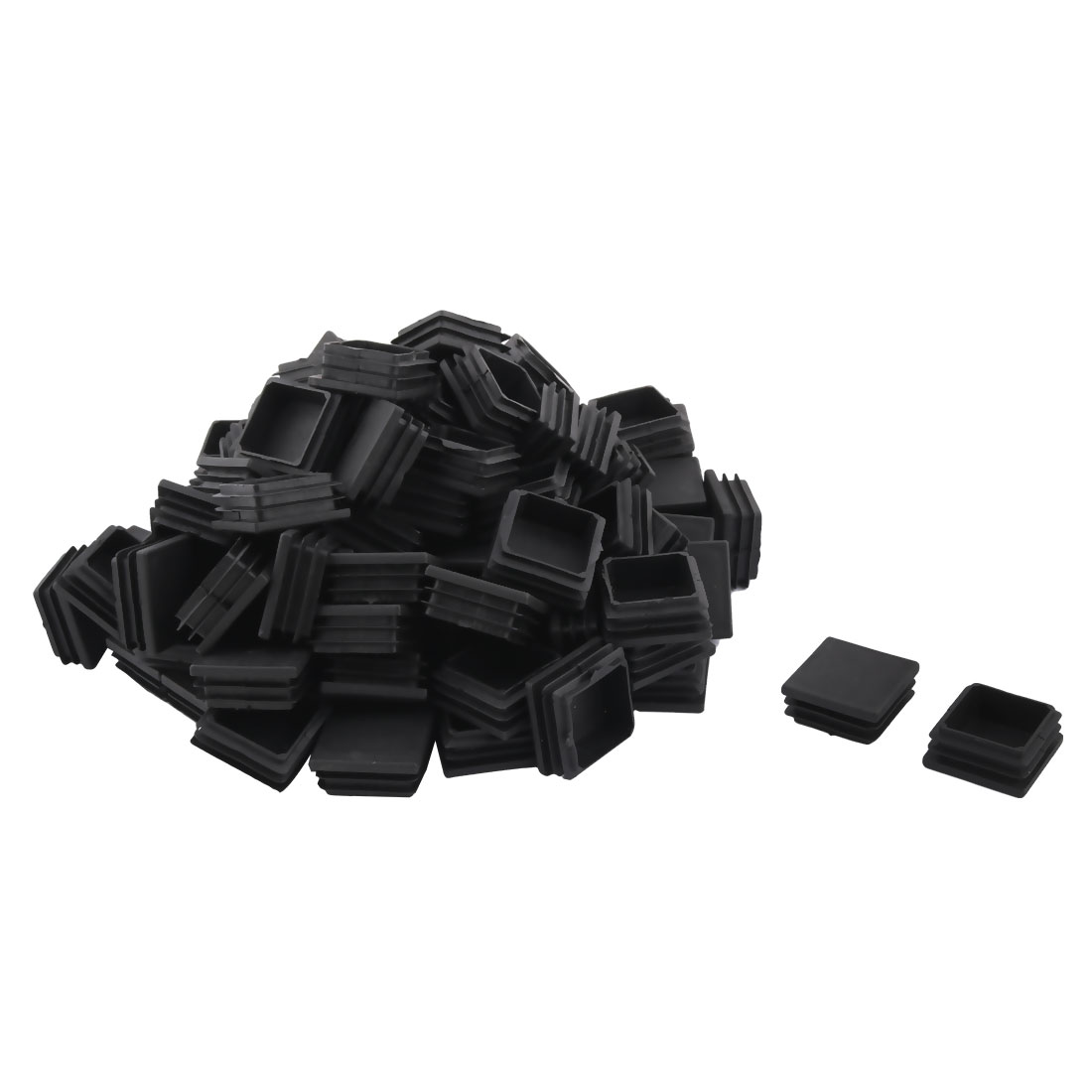 Plastic Square Design Tube Insert End Blanking Cover Cap Black 38 x 38mm 100pcs