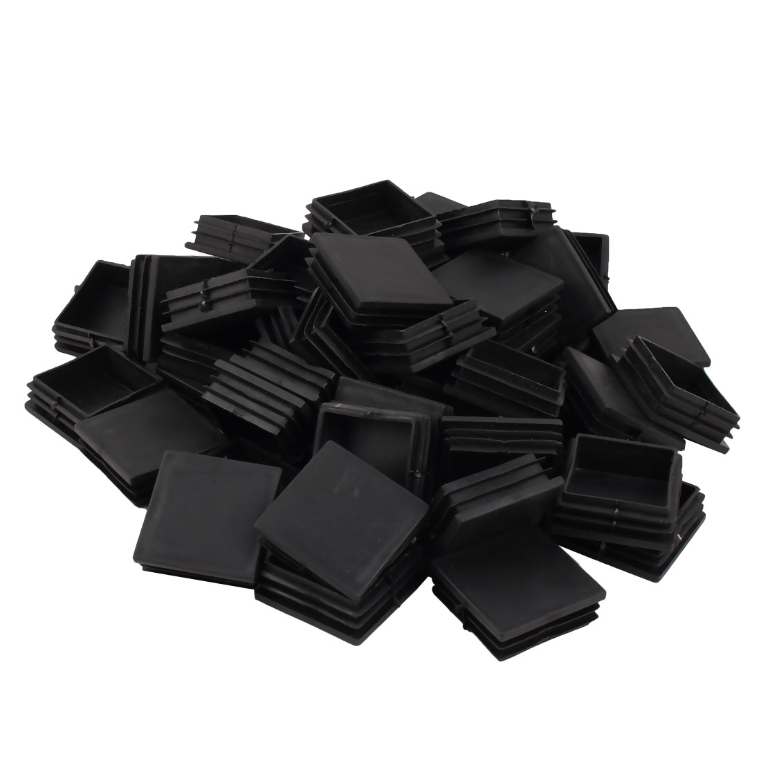 50mm x 50mm Square Furniture Legs Flat Base Plastic Tube Pipe Feet Insert Cap 50pcs Black