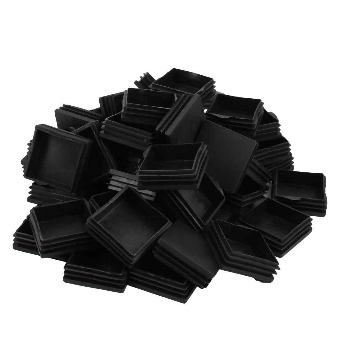 Table Chair Legs Plastic Flat Base Square Tube Pipe Feet Insert Cap Black 60mm x 60mm 50pcs